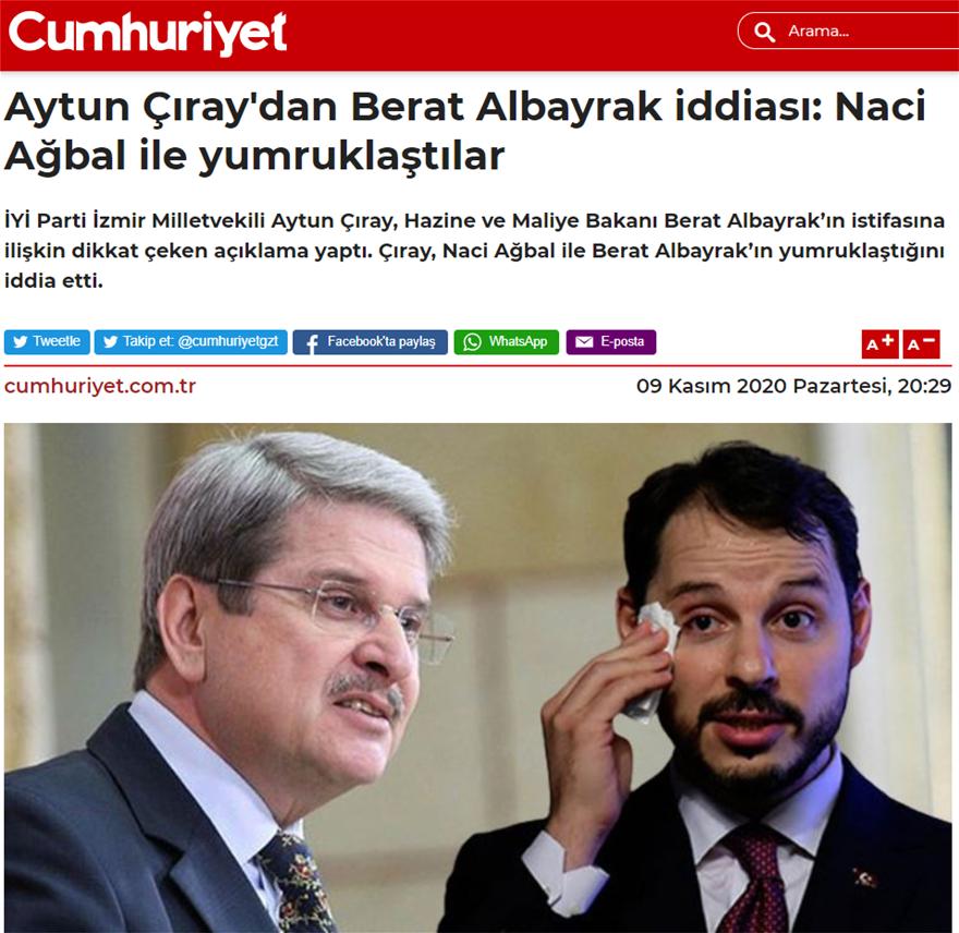 O γαμπρός του Ερντογάν «έπαιξε ξύλο» με τον νέο κεντρικό τραπεζίτη της Τουρκίας (Τζουμχουριέτ)