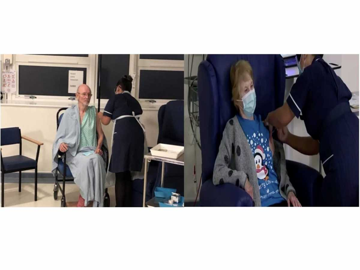 Εμβόλιο Pfizer: Η 90χρονη Μάγκι και ο Γουίλιαμ Σαίξπηρ εμβολιάστηκαν πρώτοι στον κόσμο