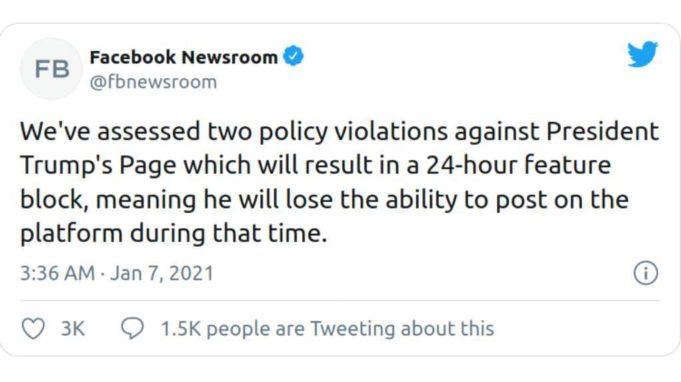 Και το Facebook μετά το Twitter μπλόκαρε τον λογαριασμό του Τραμπ για 24 ώρες - ert.gr