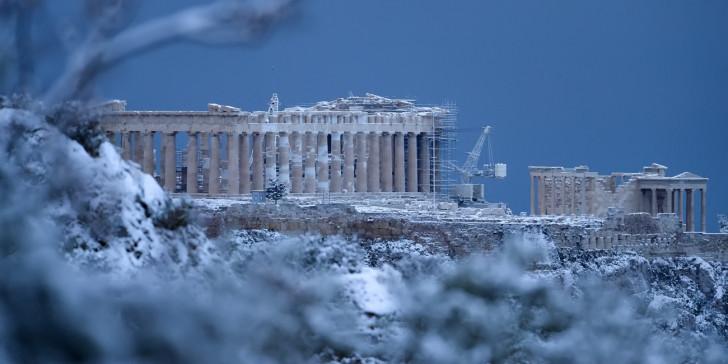 Αποτέλεσμα εικόνας για κακοκαιρία Μήδεια Αθήνα χιόνι